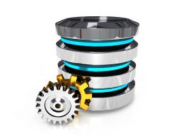 Computer Server With Two Gears Process Control Stock Photo