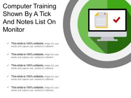 Computer Training Shown By A Tick And Notes List On Monitor