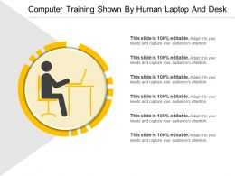 Computer Training Shown By Human Laptop And Desk