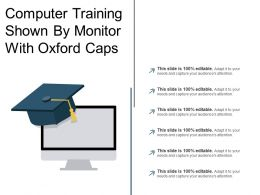 Computer Training Shown By Monitor With Oxford Caps