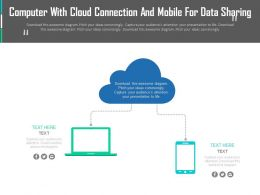 Computer With Cloud Connection And Mobile For Data Sharing Flat Powerpoint Design