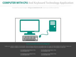 Computer With Cpu And Keyboard Technology Application Flat Powerpoint Design