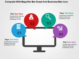 Computer With Magnifier Bar Graph And Business Man Icon Flat Powerpoint Design