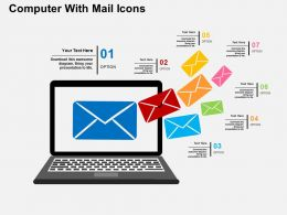 Computer With Mail Icons Flat Powerpoint Design