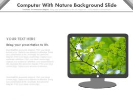 Computer With Nature Background Powerpoint Slides