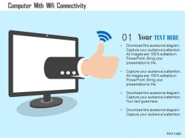 Computer With Wifi Connectivity Flat Powerpoint Design