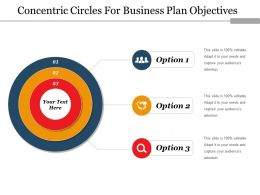 Concentric Circles For Business Plan Objectives Ppt Model