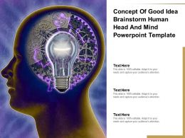 Concept Of Good Idea Brainstorm Human Head And Mind Powerpoint Template