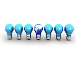 Concept Of Leadership With Bulbs Stock Photo