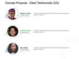Concept Proposal Client Testimonials Teamwork Ppt Powerpoint Presentation Icon Tips