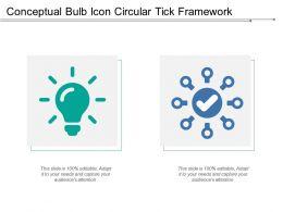 Conceptual Bulb Icon Circular Tick Framework