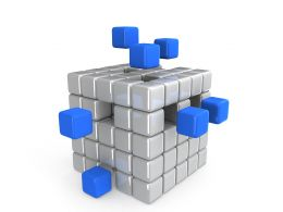 Conceptual Cube With White And Blue Cubes Stock Photo
