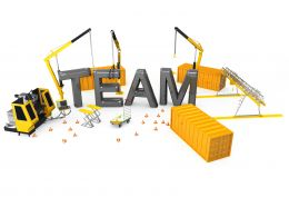 Conceptual Graphic For Team With Hurdles Stock Photo