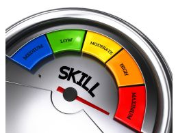 Conceptual Meter Showing Maximum Level Of Skill Stock Photo