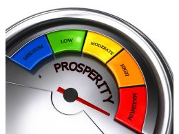 Conceptual Prosperity Meter Showing Maximum Level Stock Photo