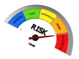 Conceptual Risk Meter Showing Maximum Level Stock Photo