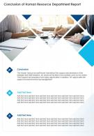 Conclusion Of Human Resource Department Report Presentation Report Infographic PPT PDF Document