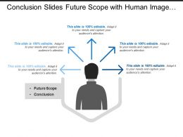 Conclusion Slides Future Scope With Human Image And Protruded Arrows