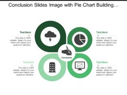 Conclusion Slides Image With Pie Chart Building Metrics Hand And Pen Image