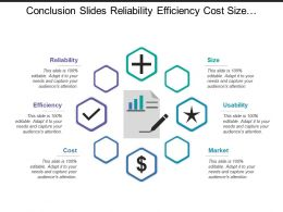 Conclusion Slides Reliability Efficiency Cost Size Usability Market
