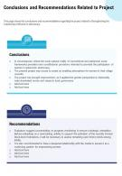 Conclusions And Recommendations Related To Project Presentation Report Infographic PPT PDF Document
