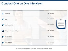 Conduct One On One Interviews Timing And Responsibility Ppt Powerpoint Presentation Outline
