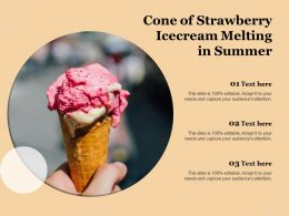 Cone Of Strawberry Icecream Melting In Summer