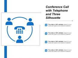 Conference Call With Telephone And Three Silhouette