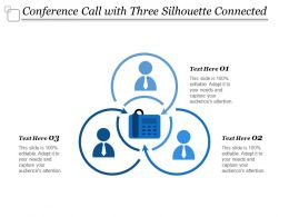 Conference Call With Three Silhouette Connected