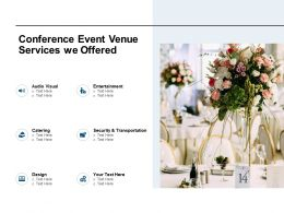 Conference Event Venue Services We Offered Ppt Powerpoint Presentation Slides Graphics