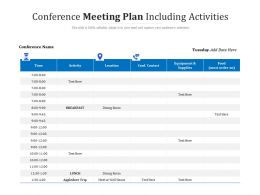 Conference Meeting Plan Including Activities