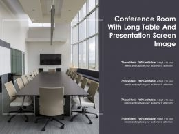 Conference Room With Long Table And Presentation Screen Image