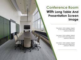 Conference Room With Long Table And Presentation Screen Images