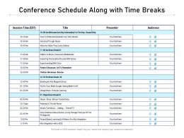 Conference Schedule Along With Time Breaks