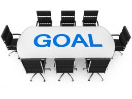 Conference Table Chairs With Word Goal Stock Photo