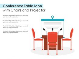 Conference Table Icon With Chairs And Projector