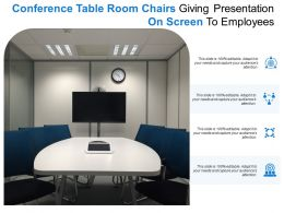 Conference Table Room Chairs Giving Presentation On Screen To Employees