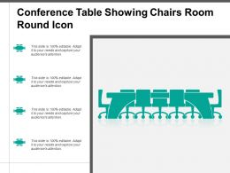 Conference Table Showing Chairs Room Round Icon