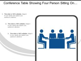 Conference Table Showing Four Person Sitting On Chair And Discuss Icon