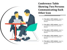 Conference Table Showing Two Persons Communicating Each Other Icon