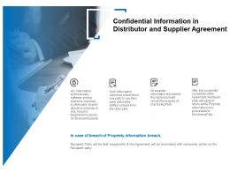 Confidential Information In Distributor And Supplier Agreement Ppt Slides