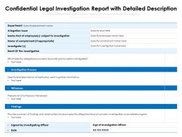 Confidential Legal Investigation Report With Detailed Description