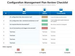 Configuration Management Plan Review Checklist