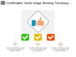 Confirmation Vector Image Showing Thumbsup Image With Three Ticks