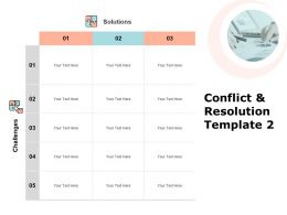 Conflict And Resolution Template Table Ppt Powerpoint Presentation Pictures Portfolio