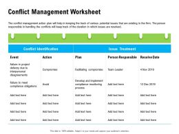 Conflict Management Worksheet Compromise Ppt Powerpoint Presentation Infographic Template