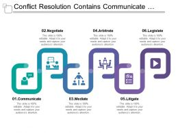 Conflict Resolution Contains Communicate Negotiate Mediate Arbitrate And Legislate