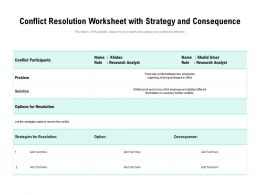 Conflict Resolution Worksheet With Strategy And Consequence