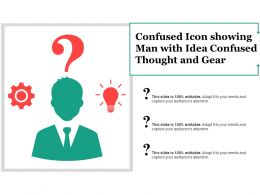 Confused Icon Showing Man With Idea Confused Thought And Gear