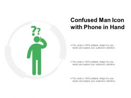 Confused Man Icon With Phone In Hand